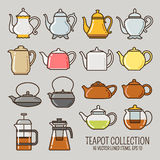 Ευθυγραμμισμένη Teapot συλλογή εικονιδίων Στοκ Εικόνες