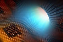 Ευθυγραμμισμένοι επεξεργαστές υπολογιστών με τα μπλε δυαδικά αποτελέσματα postproduction Στοκ Εικόνα