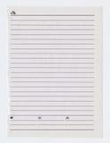 Ευθυγραμμισμένο φύλλο σημειωματάριων Στοκ εικόνα με δικαίωμα ελεύθερης χρήσης