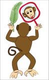 Ευθυμία πιθήκων με τον καθρέφτη Πρόσωπο πιθήκων στον καθρέφτη Πίθηκος που κρατά ένα φύλλο φοινικών ελεύθερη απεικόνιση δικαιώματος