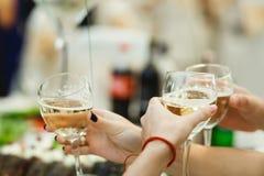 Ευθυμίες ανθρώπων με το σύνολο γυαλιών του άσπρου κρασιού Στοκ φωτογραφία με δικαίωμα ελεύθερης χρήσης