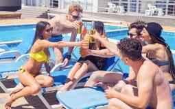Ευθυμίες Ομάδα εύθυμων ανθρώπων που πίνουν τα κοκτέιλ Στοκ Εικόνες