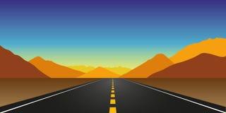 Ευθύς δρόμος ασφάλτου το φθινόπωρο στο τοπίο βουνών διανυσματική απεικόνιση