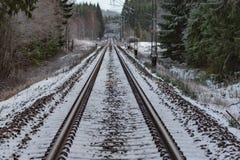 Ευθύς σιδηρόδρομος μέσω ενός σουηδικού δάσους το Δεκέμβριο στοκ εικόνα