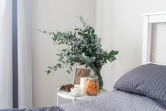 Ευκάλυπτος στο εσωτερικό, καφές πρωινού στον πίνακα στην κρεβατοκάμαρα από το κρεβάτι Στοκ φωτογραφίες με δικαίωμα ελεύθερης χρήσης