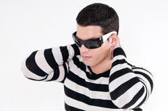 λευκές νεολαίες ατόμων ανασκόπησης απομονωμένες γυαλιά Στοκ φωτογραφία με δικαίωμα ελεύθερης χρήσης