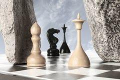 λευκός νικητής βασιλιάδων σκακιού μάχης Στοκ Φωτογραφίες