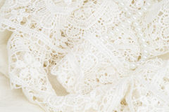 λευκό δαντελλών ανασκόπ&eta Στοκ Φωτογραφίες