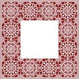 λευκό δαντελλών doily Τετραγωνικό πλαίσιο Στοκ εικόνες με δικαίωμα ελεύθερης χρήσης