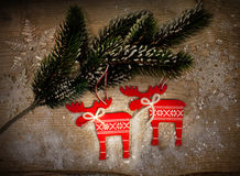 λευκό απομόνωσης ντεκόρ Χριστουγέννων Στοκ Εικόνες