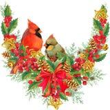 λευκό πλαισίων Χριστουγέννων ανασκόπησης στεφάνι χειμερινών Χριστουγέννων watercolor ελεύθερη απεικόνιση δικαιώματος