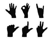 λευκό σκιαγραφιών απεικόνισης χεριών ανασκόπησης Στοκ Εικόνες