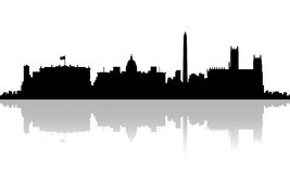 λευκό της Ουάσιγκτον σπιτιών γ δ Γ Ορίζοντας σκιαγραφιών Στοκ Φωτογραφία