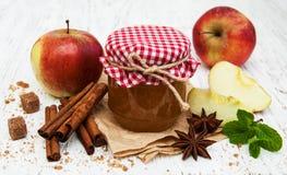 λευκό φωτογραφιών μαρμελάδας ανασκόπησης μήλων Στοκ Φωτογραφία