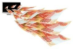 λευκό lap-top Διαδικτύου επιχειρησιακών νομισμάτων Στοκ Εικόνες