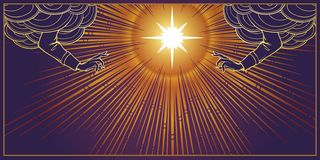ευλογία θεία Αστέρι με τις ελαφριές ακτίνες που ακτινοβολούν πίσω και που ευλογούν τα χέρια που φτάνουν από τα σύννεφα ελεύθερη απεικόνιση δικαιώματος