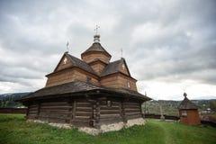 ευλογημένο nativity Virgin Mary εκκλησ Παλαιά ξύλινη εκκλησία στο ουκρανικό χωριό Vorohta, Ουκρανία στοκ φωτογραφία με δικαίωμα ελεύθερης χρήσης