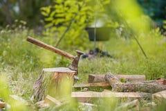 Ευμετάβλητος πυροβολισμός της περικοπής τσεκουριών σε ένα κολόβωμα στην πράσινη επαρχία και το δασικό υπόβαθρο Στοκ Φωτογραφία