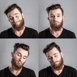 Ευμετάβλητος και λυπημένος νεαρός άνδρας που απομονώνεται στο γκρίζο backround κολάζ Στοκ φωτογραφίες με δικαίωμα ελεύθερης χρήσης