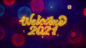 Ευπρόσδεκτα μόρια σπινθηρίσματος κειμένων του 2021 χαιρετώντας στα χρωματισμένα πυροτεχνήματα απεικόνιση αποθεμάτων