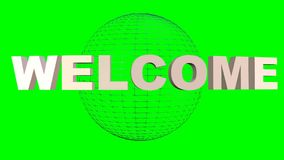 Ευπρόσδεκτη επιγραφή που περιστρέφεται για τη σφαίρα wireframe Εισαγωγή στην πράσινη οθόνη ελεύθερη απεικόνιση δικαιώματος