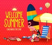 Ευπρόσδεκτη θερινή διασκέδαση στο πλαίσιο της αφίσας ήλιων με την ομπρέλα, ιστιοσανίδα Στοκ Φωτογραφίες