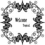 Ευπρόσδεκτος τροπικός εγγραφής για τη διακόσμηση, κάρτα r ελεύθερη απεικόνιση δικαιώματος