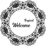 Ευπρόσδεκτος τροπικός εγγραφής για τη διακόσμηση, κάρτα r απεικόνιση αποθεμάτων
