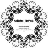 Ευπρόσδεκτος τροπικός εγγραφής για τη διακόσμηση, κάρτα r διανυσματική απεικόνιση