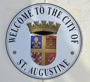 Ευπρόσδεκτο σημάδι Αγίου Augustine Φλώριδα στοκ εικόνες