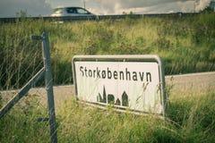Ευπρόσδεκτο σημάδι πόλεων της Κοπεγχάγης στη Δανία στοκ εικόνα