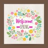 Ευπρόσδεκτη εποχή άνοιξης, floral υπόβαθρο απεικόνισης απεικόνιση αποθεμάτων