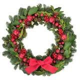 Ευπρόσδεκτο στεφάνι Χριστουγέννων Στοκ Φωτογραφίες