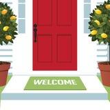 Ευπρόσδεκτο χαλί στη μπροστινή πόρτα διανυσματική απεικόνιση