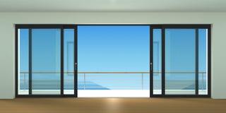 Ευρέως συρόμενη διπλή πόρτα Στοκ Εικόνες
