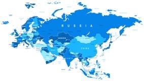 Ευρασία - χάρτης - απεικόνιση Στοκ Εικόνα