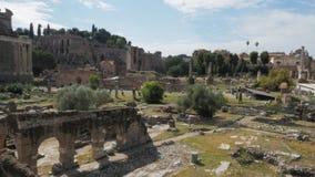 Ευρεία άποψη γωνίας πρωινού της περιοχής του αρχαίου φόρουμ, Ρώμη φιλμ μικρού μήκους