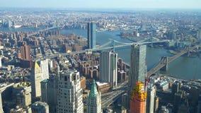 Ευρεία εναέρια άποψη γωνίας πέρα από το Μανχάταν Νέα Υόρκη φιλμ μικρού μήκους