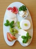 Ευρεία ποικιλία των φρέσκων τυριών στο πιάτο πορσελάνης Στοκ Φωτογραφίες