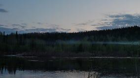 Ευρεία προσιτότητα του ποταμού unya στην άσπρη νύχτα απόθεμα βίντεο
