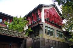 Ευρείες και στενές αλέες στην πόλη Chengdu στοκ εικόνα με δικαίωμα ελεύθερης χρήσης