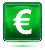 Ευρο- ανοικτό πράσινο τετραγωνικό κουμπί νέου εικονιδίων σημαδιών διανυσματική απεικόνιση