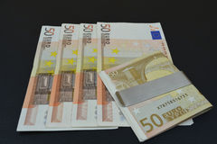 ευρο- αντανάκλαση σημειώσεων Πενήντα ευρώ σε σχέση με Στοκ φωτογραφία με δικαίωμα ελεύθερης χρήσης