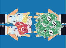 Ευρο- ανταλλαγή νομίσματος δολαρίων Στοκ Φωτογραφίες