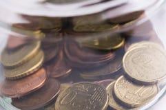 Ευρο- αποταμίευση νομισμάτων Στοκ Φωτογραφίες