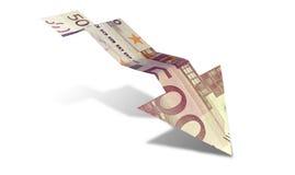 Ευρο- βέλος προς τα κάτω τάσης τραπεζογραμματίων Στοκ φωτογραφίες με δικαίωμα ελεύθερης χρήσης