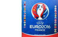 2016 ευρο- Γαλλία εξουσιοδοτημένο ανώτερος υπάλληλος λεύκωμα αυτοκόλλητων ετικεττών UEFA Στοκ Εικόνες