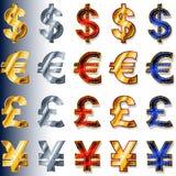 Ευρο- ΕΥΡ δολαρίων εικονιδίων σημαδιών νομίσματος νομισματικά γεν JP GBP λιβρών Δολ ΗΠΑ διανυσματική απεικόνιση