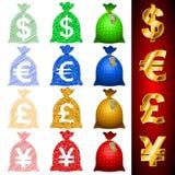 Ευρο- ΕΥΡ δολαρίων σάκων νομίσματος JPY γεν GBP λιβρών Δολ ΗΠΑ Στοκ εικόνα με δικαίωμα ελεύθερης χρήσης