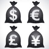 Ευρο- ΕΥΡ δολαρίων σάκων τσαντών χρημάτων JPY γεν GBP λιβρών Δολ ΗΠΑ Στοκ Φωτογραφίες